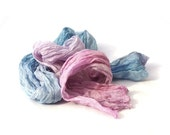 Pastels hair band silk scarf, Thin hair scarf, Headband scarf in ombre colour Pink & Blue, boho hair scarf long crinkle, gift for women,