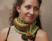 Spring green pastel knit scarf, Green infinity cowl, Green crochet scarf in boho fashion,  Green wool fringes infinity