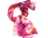 Magenta hand paint long silk scarf with batik flowers