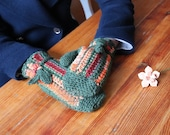Green and rainbow mittens in boho style