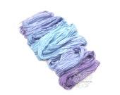 Blue Indigo ombre long silk scarf crinkle