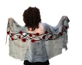 Grey nuno felt scarf florals wrap silk red poppy flowers
