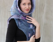 Blue grey Lilac nuno felt scarf, long nuno felt scarf silk, Mother's day gift