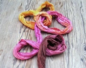 Pink orange crinkle ombre long silk scarf