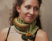 Spring green pastel knit scarf, Green infinity cowl, floral knit scarf,  Green wool fringes infinity