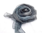 Blue grey hand painted silk scarf, Blue gray muslin long shawl customized