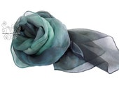 Teal ombre long silk scarf from muslin, Anniversary gift