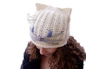 Cat beanie hat white chun...