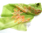 Floral green long silk scarf with orchid flower, hand paint silk, luxury gift for wife