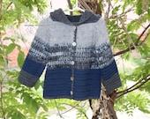 Chunky gray blue boy hoodie sweater, Chunky hand crochet baby boy sweater, chunky hoodie jacket baby boy,