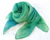 Hand painted silk shawl square scarf elegant Green blue shades, custom order