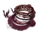 Plum memory wire fringes bracelet boho jewellery artisan jewelry