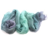 Ombre hand paint pastel green indigo long silk scarf. Gift under 50 for her. Custom order muslin scarf for bridesmaid