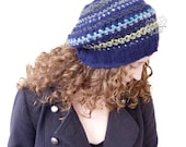 Slouchy beanie hat women, hand crochet blue wool warm beret