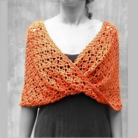 Orange häkeln rustikalen Schal Spitze Unendlichkeit Schal | Etsy