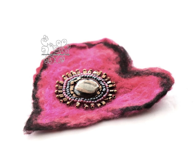 Heart rose felted hair jewelry clip textil art brooch image 0