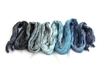 Black silk scarf for women, Blue long silk scarf, Night blue scarf custom, unisex gift for him