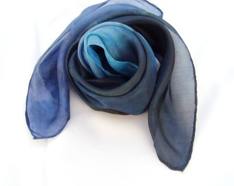 Night Blue hand paint silk scarf, Blue & Black square scarf, street style scarf, unisex adult, scarf for hair, customized