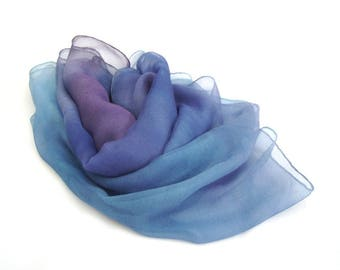 Blue silk scarf for women, Hand painted silk scarf, custom silk scarf, chiffon silk scarf, gift for wife, scarf for hair. bridal scarf