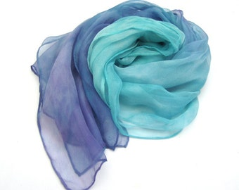 Teal ombre silk scarf,  long silk scarf, chiffon silk scarf, hand paint silk scarf, gift for wife, scarf for hair, wedding scarf