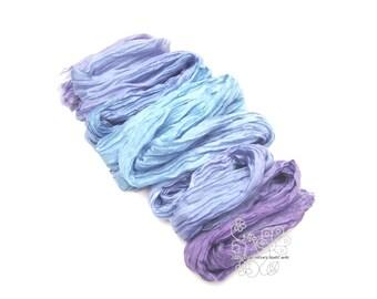 Blue Indigo thin scarf, ombre long silk scarf, thin crinkle scarf for women, thin silk scarf