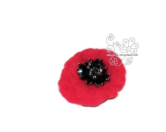 Poppy flanders field felted brooch hair jewelry clip textil art fiber art red flower hairbun boho style bohemian accessory unique gift