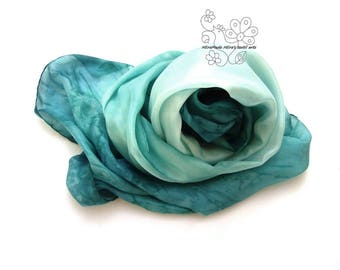 Silk scarf for women, large scarf pure silk, hand painted ombre Teal Aqua, custom order