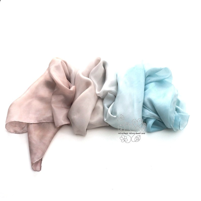 Blue and Sand long silk scarf ombre luxury gift for women image 0