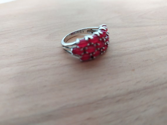 Real ruby vintage ring Cluster ruby band ring Nat… - image 2