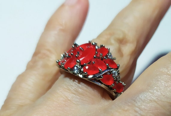 Silver cluster ruby ring Red ruby crystal ring Mu… - image 2