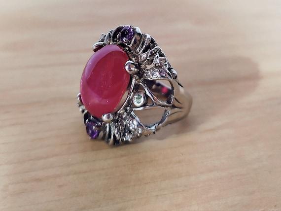 Large natural ruby ring Real ruby vintage ring Ru… - image 1