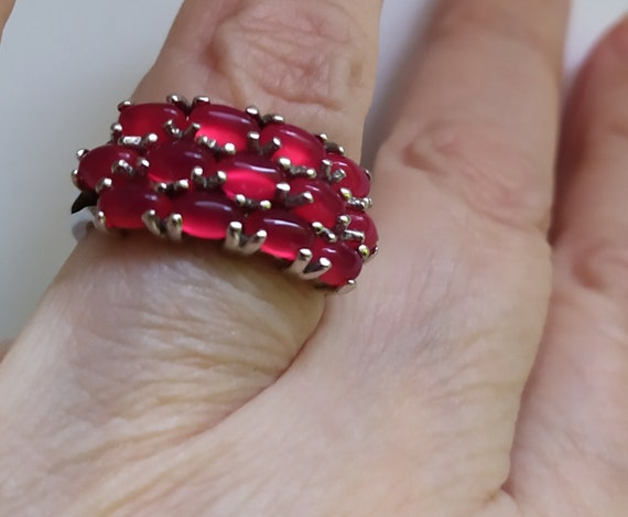 Real ruby vintage ring Cluster ruby band ring Nat… - image 4
