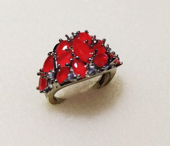 Silver cluster ruby ring Red ruby crystal ring Mu… - image 3