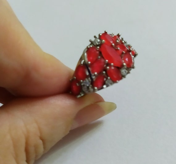 Silver cluster ruby ring Red ruby crystal ring Mu… - image 9
