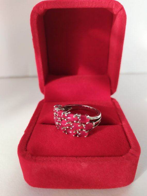 Real ruby vintage ring Cluster ruby band ring Nat… - image 6