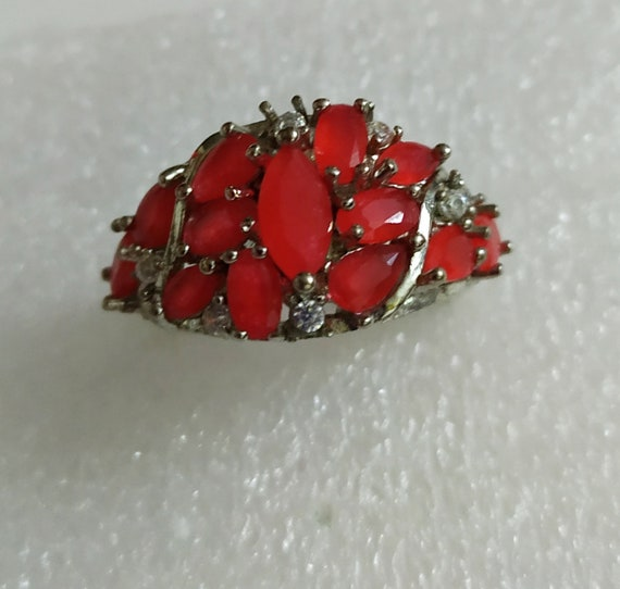 Silver cluster ruby ring Red ruby crystal ring Mu… - image 6
