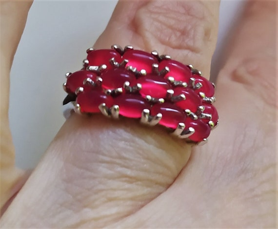 Real ruby vintage ring Cluster ruby band ring Nat… - image 7