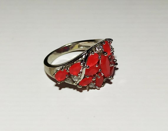 Silver cluster ruby ring Red ruby crystal ring Mu… - image 5