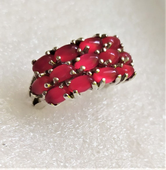 Real ruby vintage ring Cluster ruby band ring Nat… - image 3