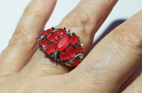 Silver cluster ruby ring Red ruby crystal ring Mu… - image 1