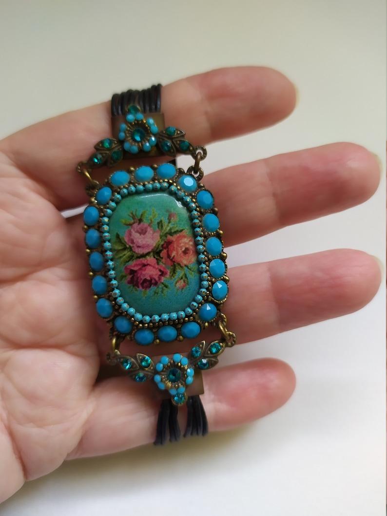 Wide cuff bracelet with stone Michal Negrin vintage Victorian bracelet