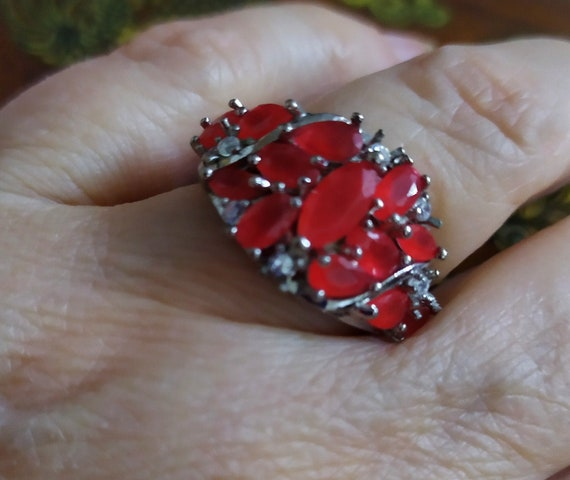 Silver cluster ruby ring Red ruby crystal ring Mu… - image 4