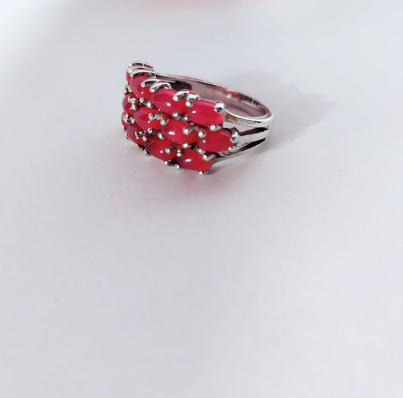 Real ruby vintage ring Cluster ruby band ring Nat… - image 1