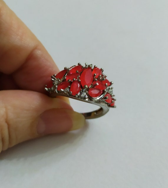Silver cluster ruby ring Red ruby crystal ring Mu… - image 10