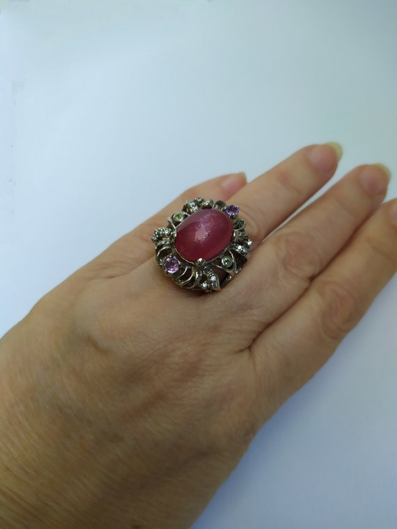 Large natural ruby ring Real ruby vintage ring Ru… - image 8