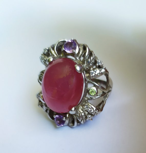 Large natural ruby ring Real ruby vintage ring Ru… - image 4
