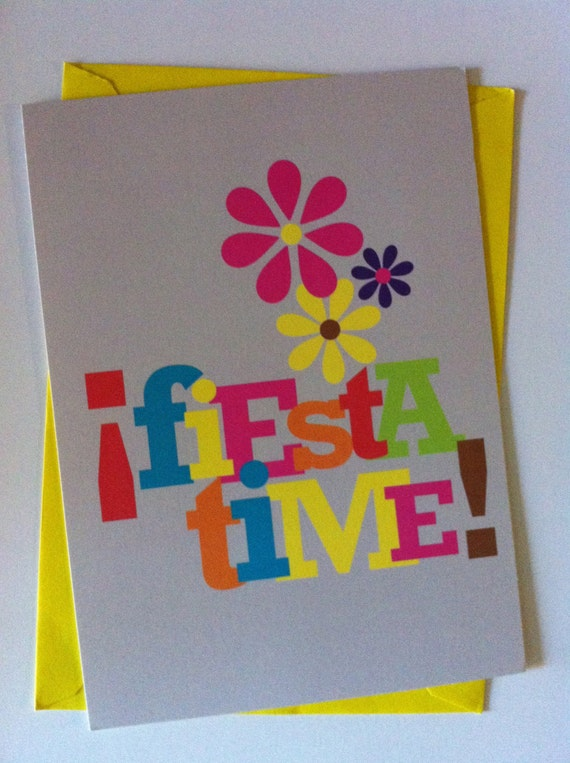Fiesta Time Greeting Card Spanish Blank Note