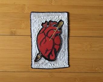 Sequin Applique Loteria Heart Corazon Patch Art