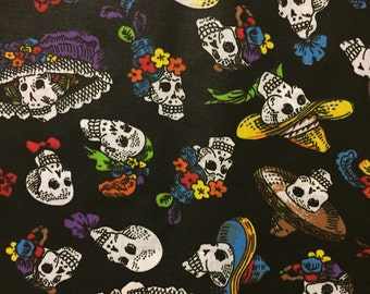 Mexican Fabric Day of the Dead Halloween Sugar Skulls Fabric