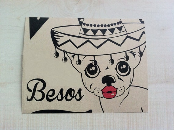 Chihuahua Kisses Greeting Card Spanish Blank Note
